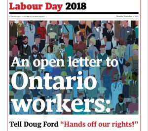 Open Letter - Labour Day 2018